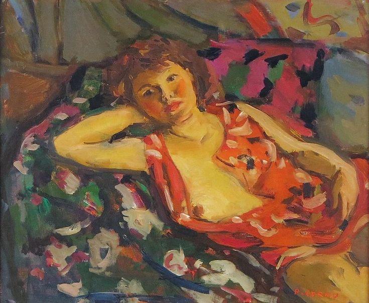 Pierre Cornu Figurative Painting – Jeune Femme Alonge Post-Impressionist