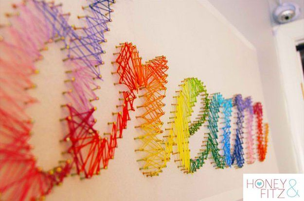String Wall Art   DIY Teen Room Decor Projects, see more at: http://diyready.com/diy-teen-room-decor-projects/