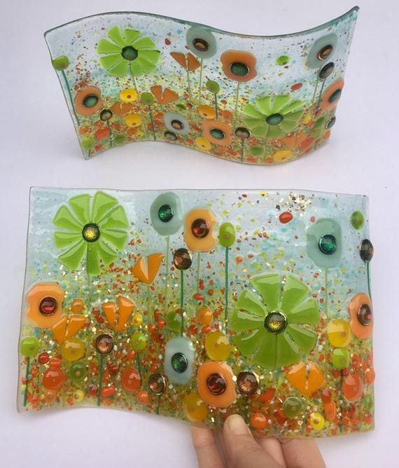 Fused Glass Floral Wave