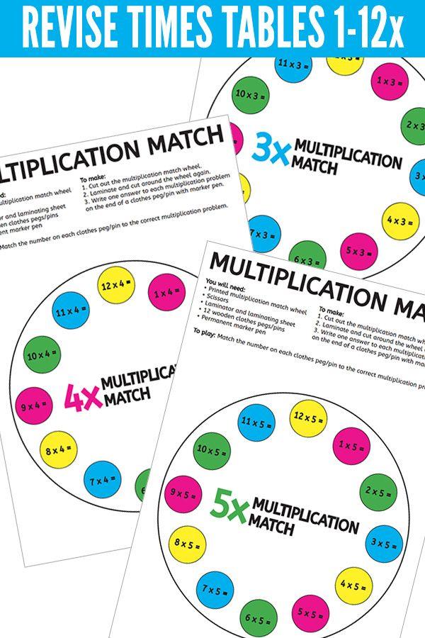 Printable Times Table Game Multiplication Peg Match 1x 12x Tables Times Tables Times Tables Games Multiplication Table