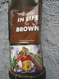 On a pole in Chicago.  Want a free sticker? Write to us at info@brownmanclothing.com.