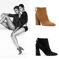 ЛАЛА IKAI женщины ботильоны Повязку Толщиной туфли на высоком каблуке для дамы мартин сапоги 2016 модный бренд Женской Обуви XWN0900