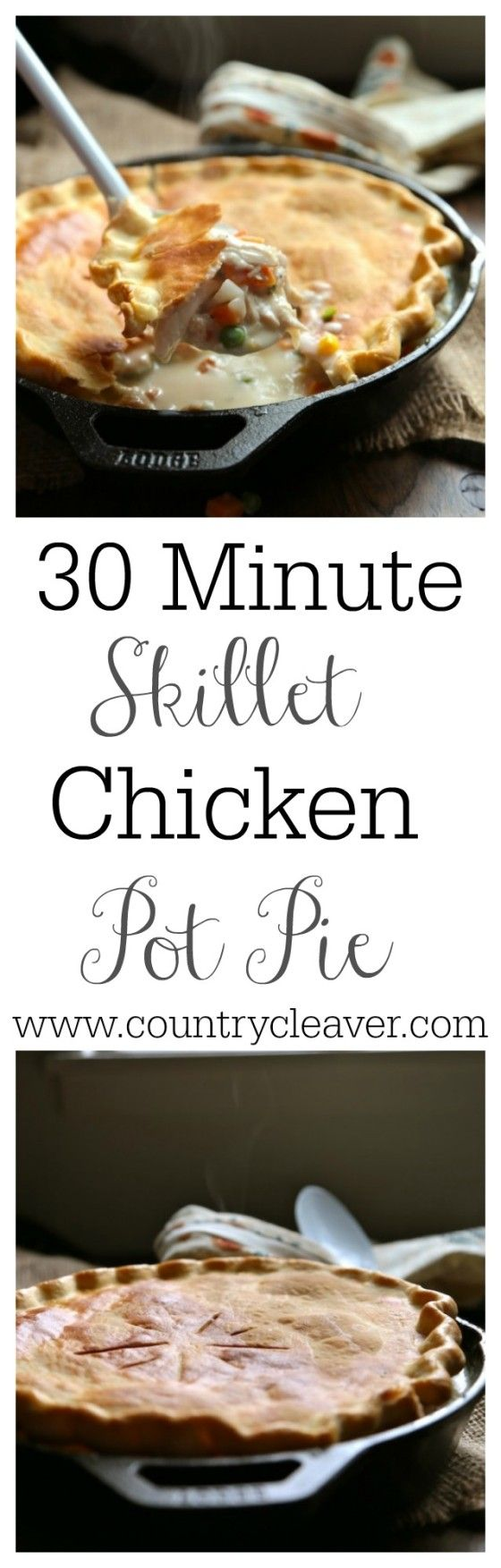 30 Minute Skillet Chicken Pot Pie isn't a myth! It's just like grandma used to make, just faster!