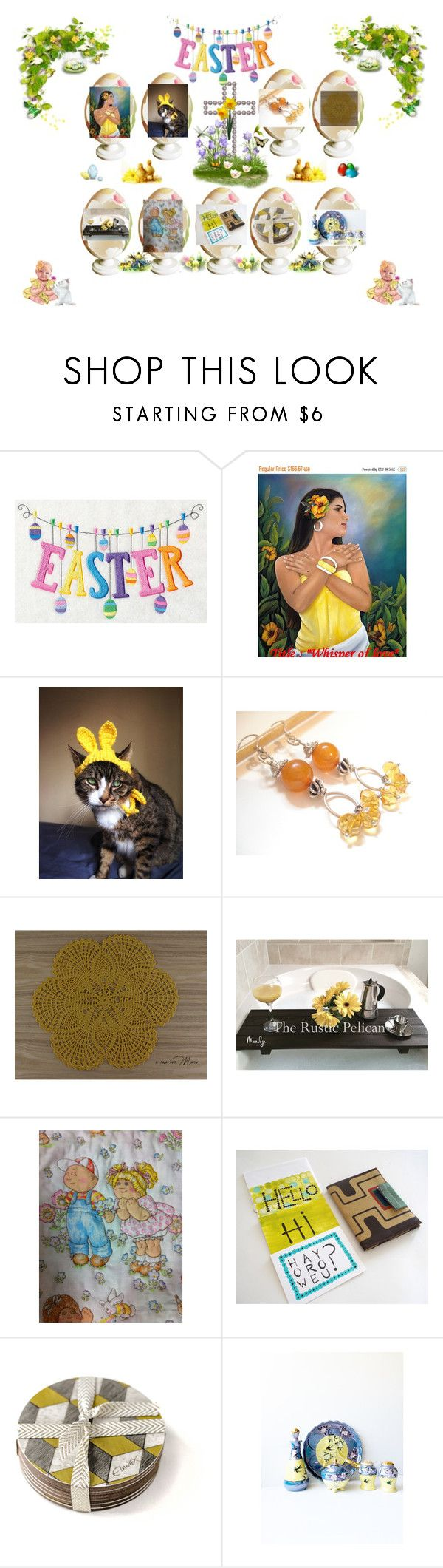 """Easter Gifts for All"" by cozeequilts ❤ liked on Polyvore featuring Bebe and rustic"