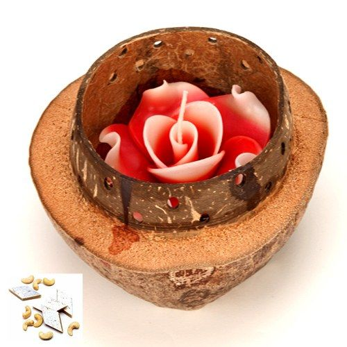 Scented Candle in a Wooden shell with 500 gms kaju Katli - Online Shopping for Diyas and Lights by Ghasitaram Gifts