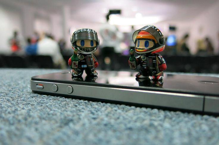 Mini Kimi and Mini Romain celebrating after race - 2013 Bahrein GP