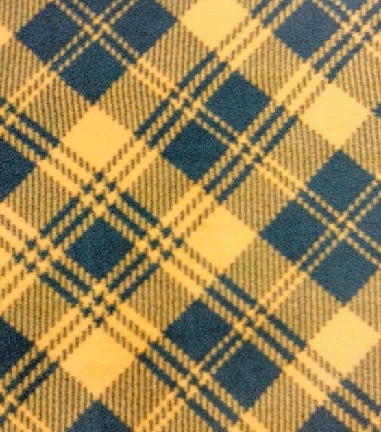 Anti-Pill Fleece Fabric Green And Gold Plaid: