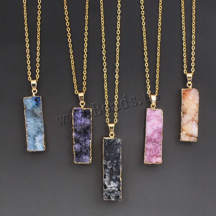 Women's Colorful Natural Stone Necklace Amethyst Pink Quartz Druzy Crystal Necklace Pendants Statement Necklaces Summer-in Pendants from Jewelry on Aliexpress.com | Alibaba Group