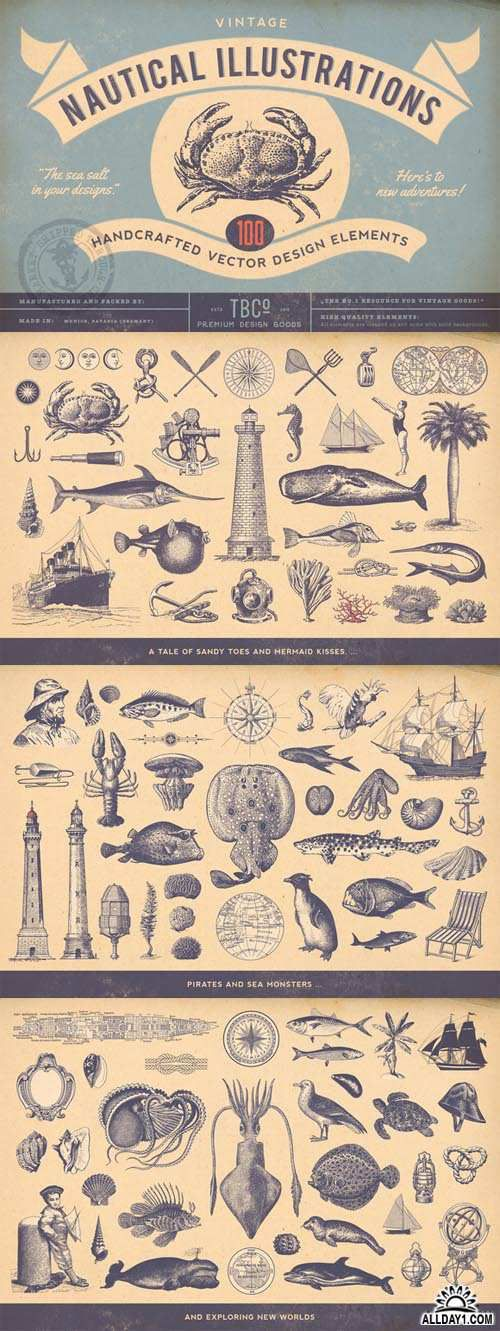 Vector 100 Vintage Nautical Illustrations