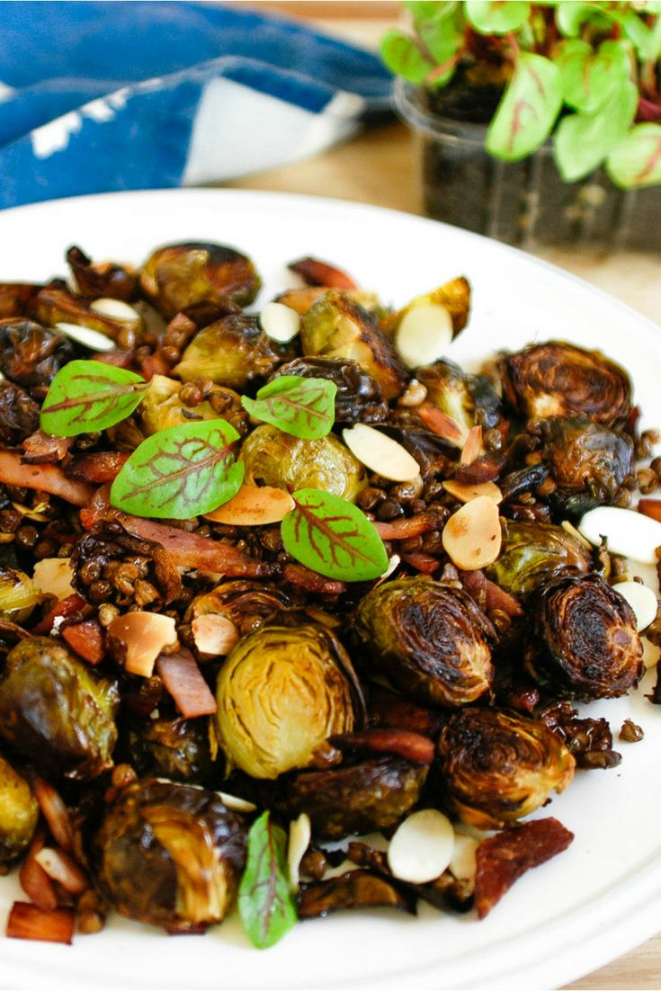 Brussel's Sprouts with Crispy Lentils, Bacon & Almonds