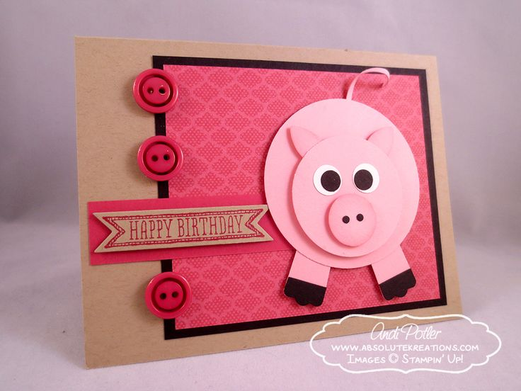"""Piggy card from cirlces and SU Modern Label punch. Instead of Happy Birthday on front, say """"Did someone say cake?"""" Then stamp happy birthday inside. Cute!"""