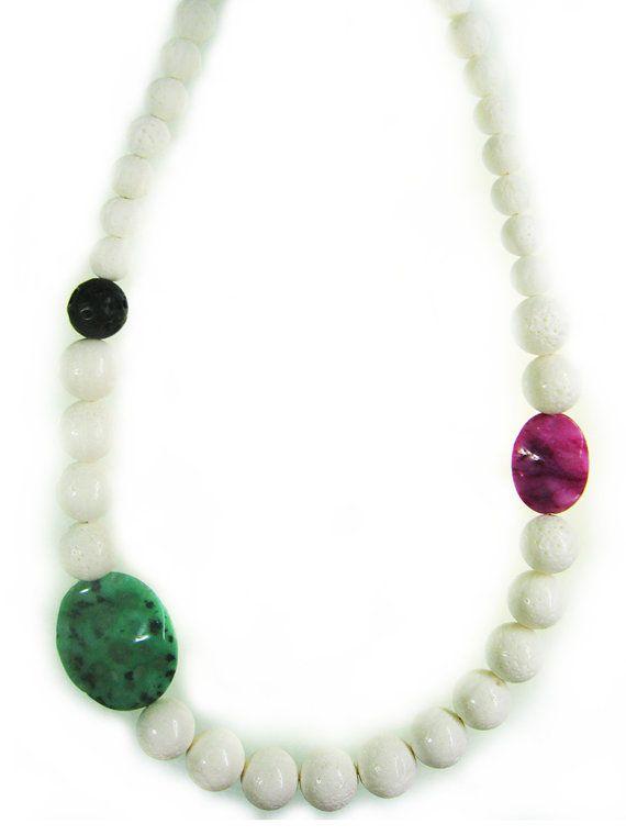 Summery white coral necklace with semi-precious stones