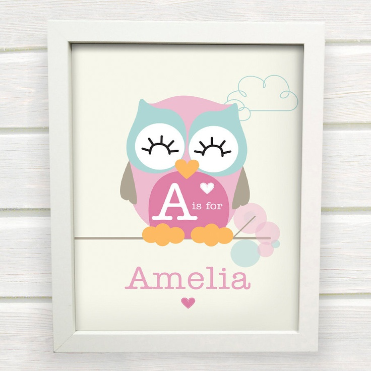 Cute Owl Name Print for a Baby Girls Nursery. $15.00, via Etsy.