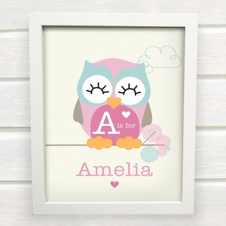 Cute Owl Name Print for a Baby Girls Nursery. $15.00, via Etsy.
