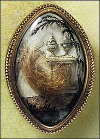 """A weeping woman, two funeral urns, and locks of hair memorialize Mann Page and Anne Corbin Page of Virginia. The gold mourning brooch""""with 1792 and the maker's name, """"Ro Webb,"""" a Philadelphia jeweler, at the bottom of the glass cover""""could be worn as pin or pendant. - Photo by Tom Green"""