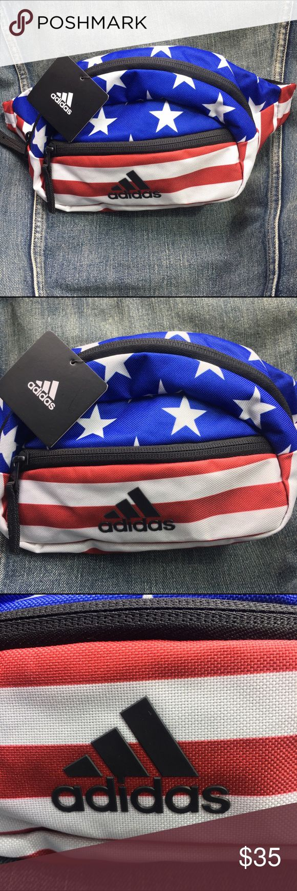 Adidas fanny pack waist pack US flag patriotic Red white and blue US flag print canvas fanny pack by adidas. The 3 stripes logo is raised. Super cute. Adjustable waist band. I also have this in solid black. adidas Bags Travel Bags