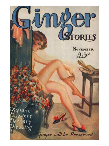 Ginger Stories, Erotica Pulp Fiction Magazine, USA, 1927Vintage Posters, Picture-Black Posters, Vintage Bathroom, 1927, Bathroom Ideas, Fiction Magazines, Erotica Pulp, Pulp Fiction, Gingers Stories