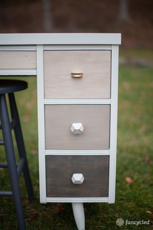 Repurposed Simply White Ombre Mid-Century Desk – Tuesday's Treasures