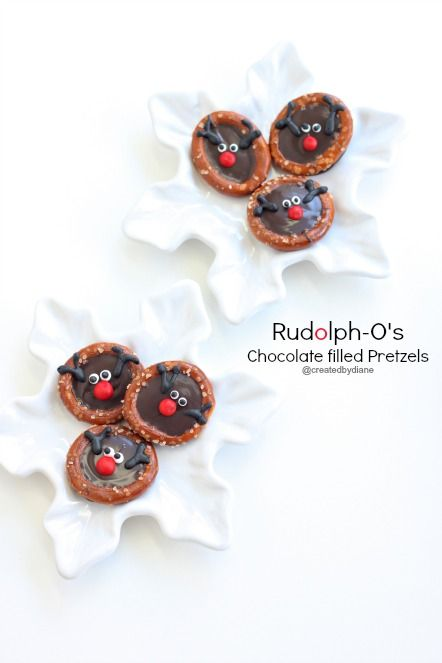 Rudolph-O's Chocolate Filled Pretzels for Christmas @createdbydiane: Filled Pretzels, Christmasfood, Chocolate Christmas, Eye, Chocolate Pretzels, Christmas Gifts