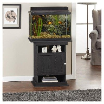 Flipper 10, 20 Gallon Aquarium Stand - Midnight Onyx - Ameriwood Home, Black