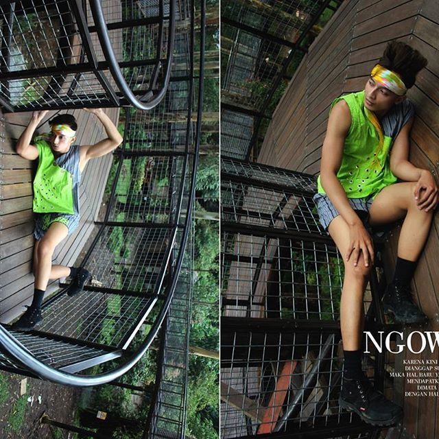 """NGOWAHI (dibalik dalam bahasa jawa) . Siklus perputaran dan berbalik pandang serta arah . . Muse @pino_pino24 Wearing @belagaknian  Location @Dusunbambu Foto & artistik @java101010  Special edition""""Piknik Nyentrik NovumAeris GOES TO BANDUNG . . #novumaeris #Fashion #Editorial #sporty #lurik #jumputan #batik #indonesia #bandung #young #boyasian #magazine #nike #jogja #malemodel #male"""