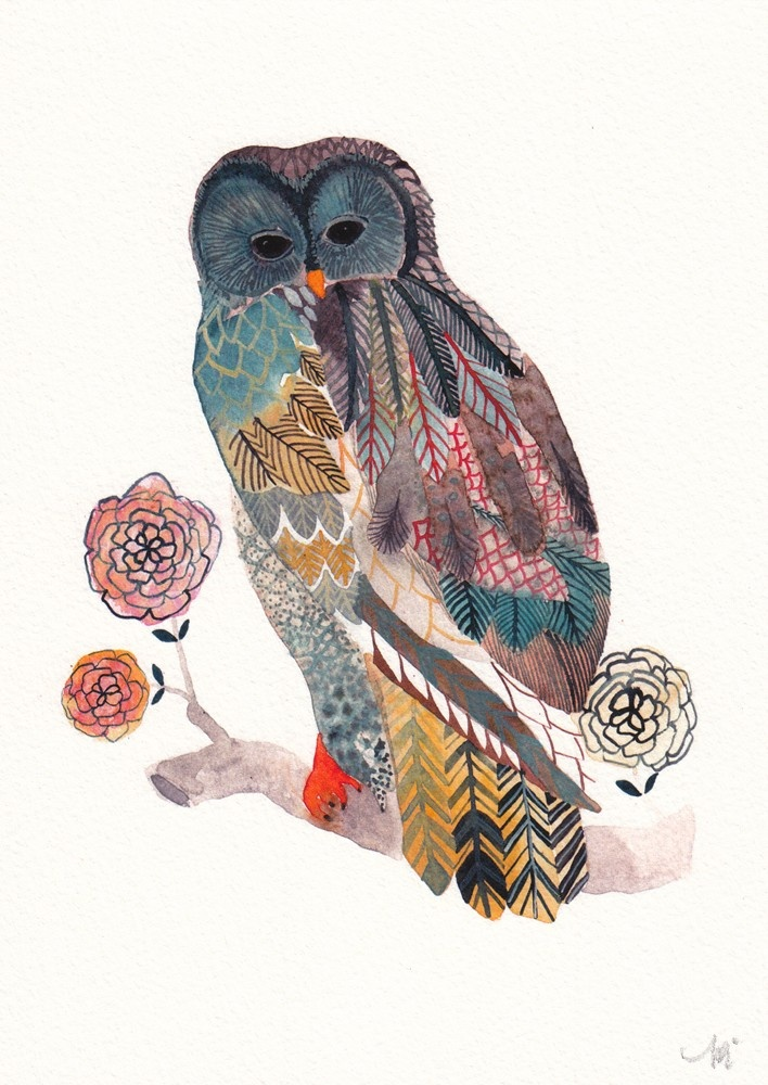 i love the collaged effect.   Blue Owl - Small Archival Print. $10.00, via Etsy.