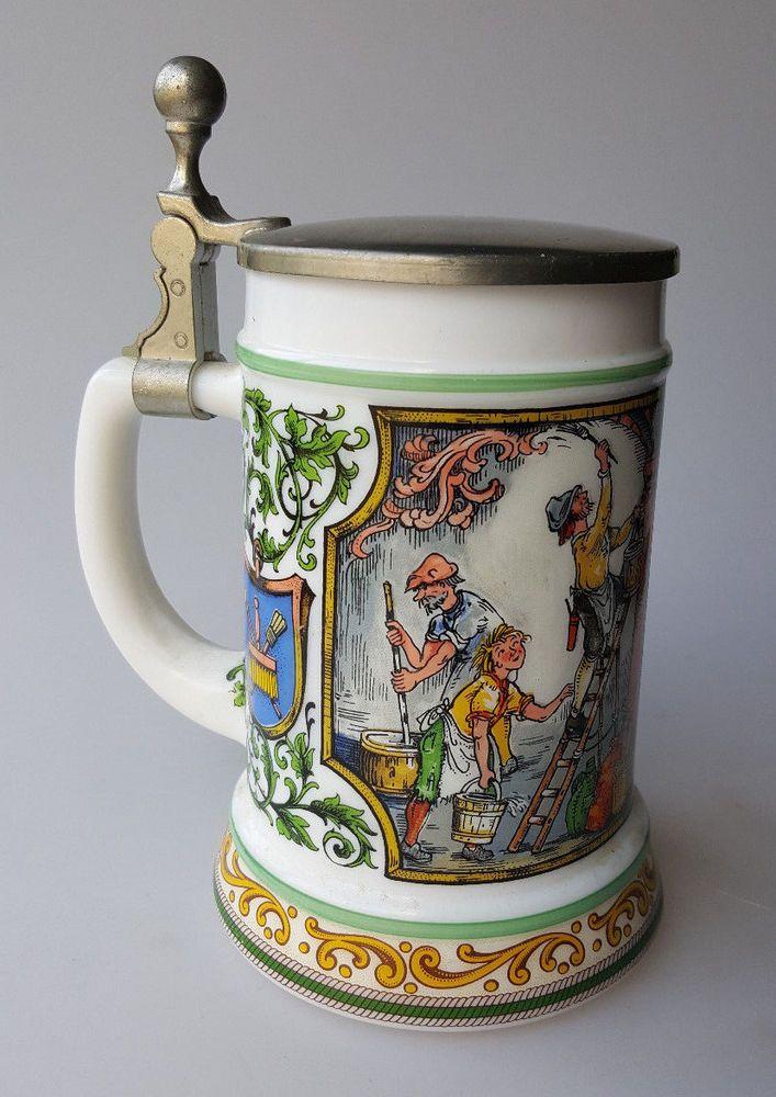 Vintage beer stein Original BMF Bierseidel milk glass pewter lid colorful 16oz