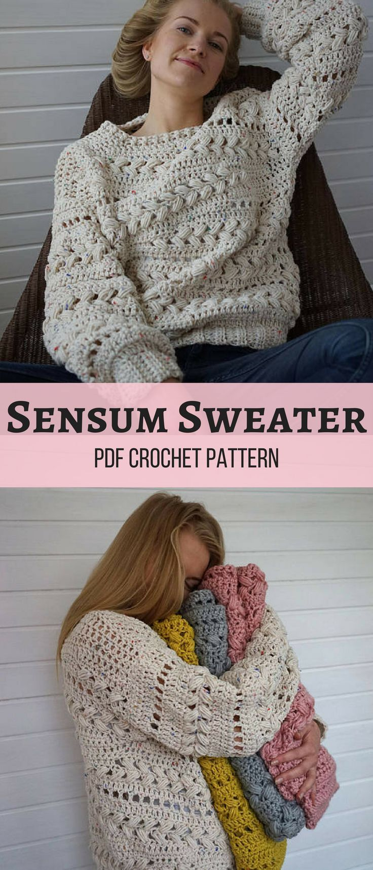 Make your own cozy Crochet Sensum Sweater! Love the beautiful puff stitch braids. #crochetsweater #ad #pattern