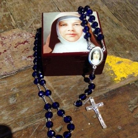 A great gift idea for Mother's Day! High gloss St Mary MacKillop rosary box $39.95. Dark blue rosary beads included!