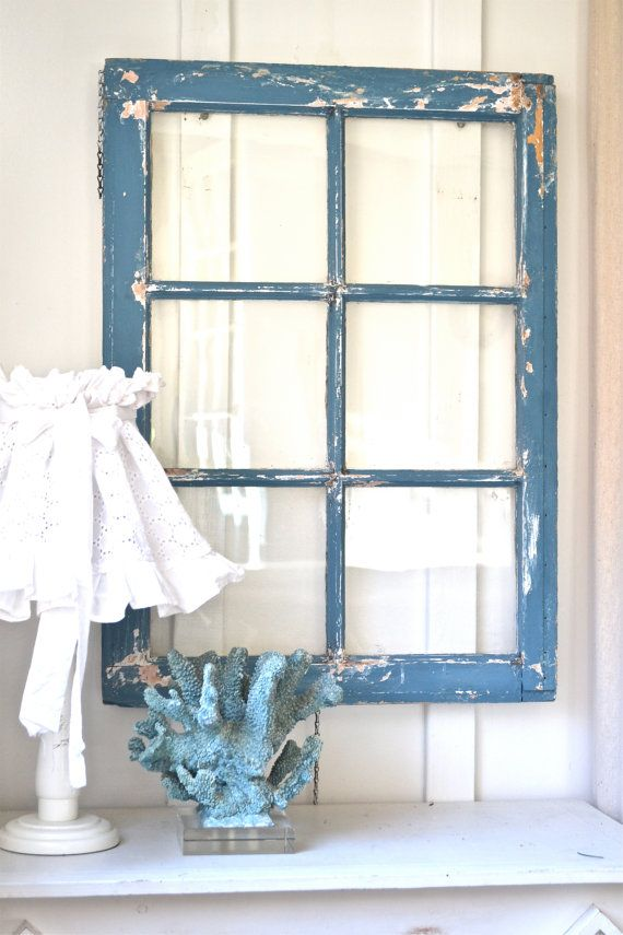 Heavy old vintage farm window - Wall decor - rustic vintage - cottage shabby chic - Beach house - French country Decor.