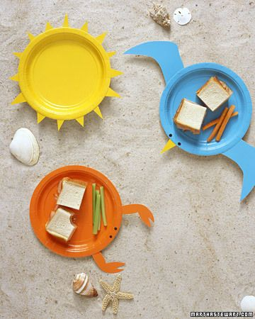 A picnic at the beach deserves the proper dishes -- what could be more fitting than colorful plates posing as a lobster, sun, and seagull? Just cut parts from another plate and affix with double-sided tape.