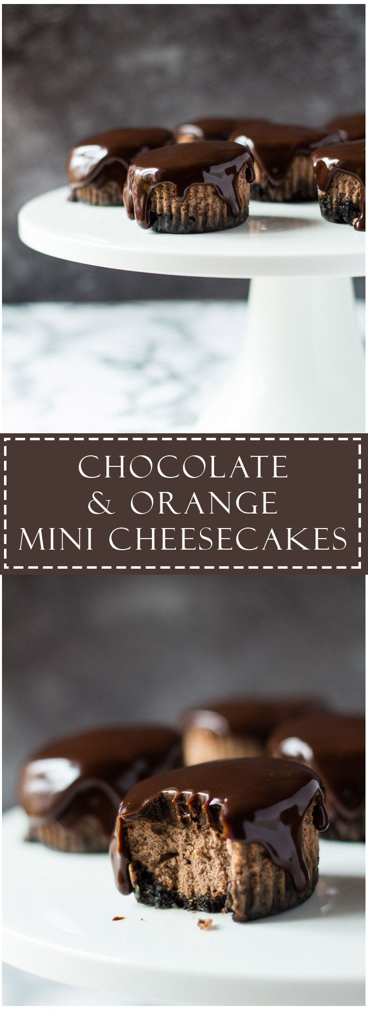 Mini chocolate cheesecakes infused with orange and topped with a dark chocolate orange ganache!
