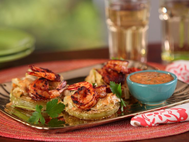 Fried Green Tomatoes with Shrimp Remoulade recipe from Bobby Flay via Food Network