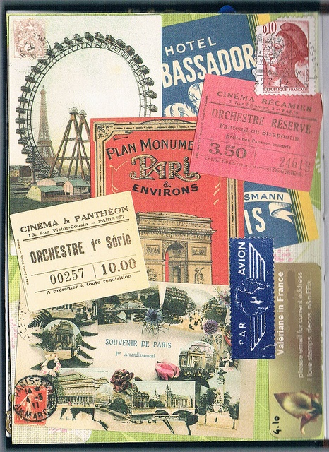 vintage paris travel collage Save all tickets post cards for framed pic collage