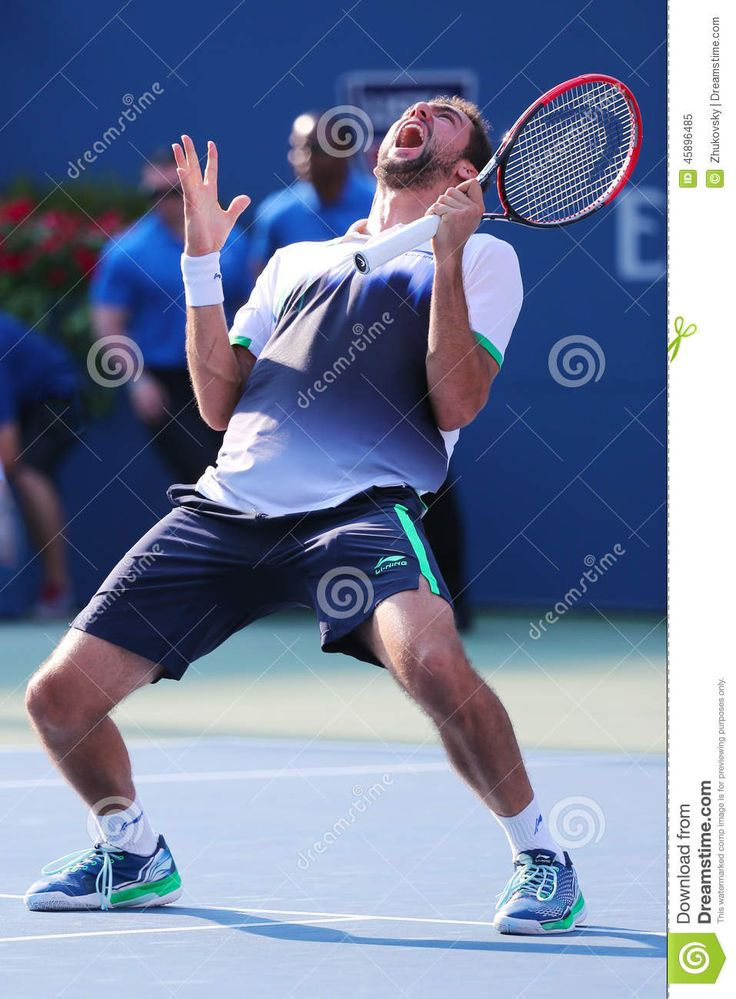 NEW YORK -SEPTEMBER 4: Professional tennis player Marin Cilic celebrates victory after US Open 2014 quarterfinal match against Tomas Berdych at Billie Jean King National Tennis Center on September 4, 2014 in New York