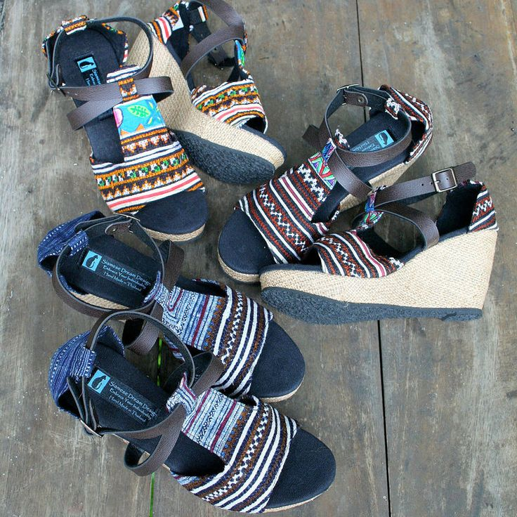Womens ethnic sandals in earthy Hmong embroidery. Wedge heels, vegan, faux leather cross straps, total comfort and style. Leighanna Handmade