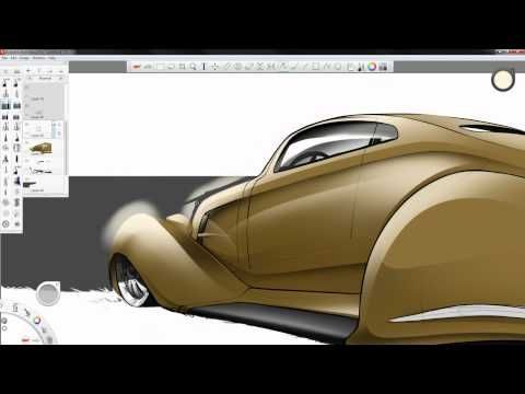 SketchBook Pro 6: Old School Lowrider Painting / awesome video for sketch process and showing what Sketchbook Pro is capable of