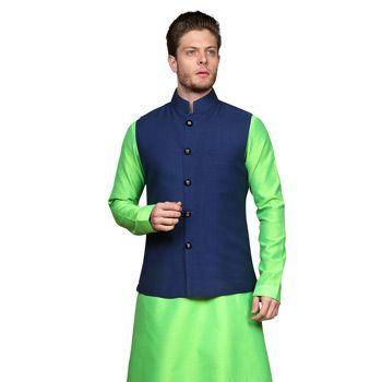 Neon Green Art Silk Readymade Kurta with Aligarh Pajama cum Nehru Jacket