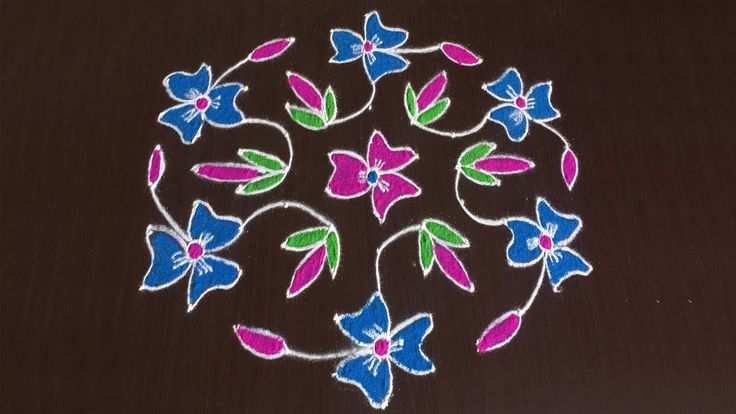 LATEST RANGOLI DESIGN WITH COLOURS FOR FESTIVAL 11 TO 6 | NICE MUGGULU