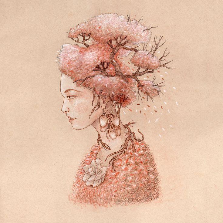 Dessin sur papier teinté par Yannick Brosseau