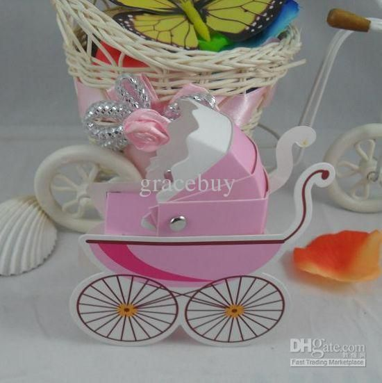 Baby Carriage Cradle Pram Stroller Favor Gift Box Christening Baby Shower  Day Out Party Favors Cardboard Holder Carton Case