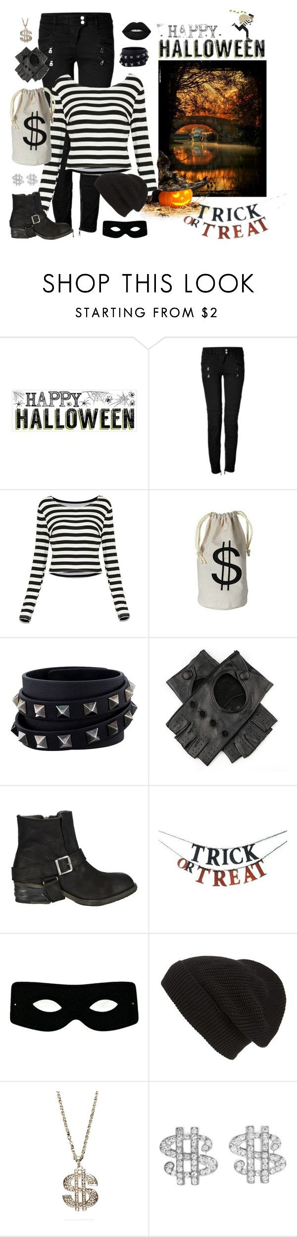 """Bank robber"" by bebe6121985 ❤ liked on Polyvore featuring Balmain, Valentino, AllSaints, Home Decorators Collection, Masquerade, Phase 3, Novelty, Lime Crime, Halloween and Costume"