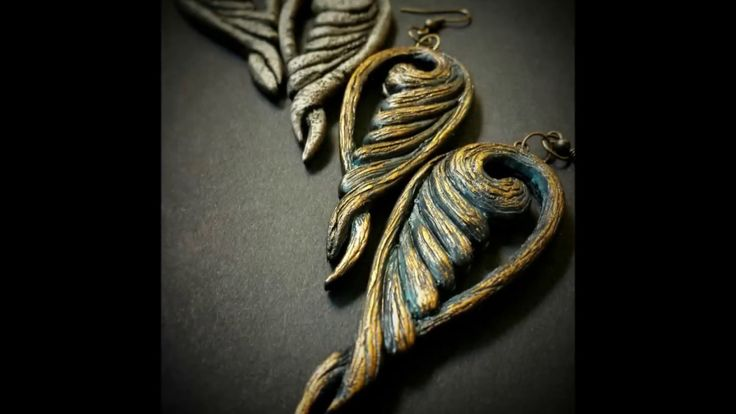 Polymer clay ''Old stone'' and ''Old metal'' earrings tutorial.