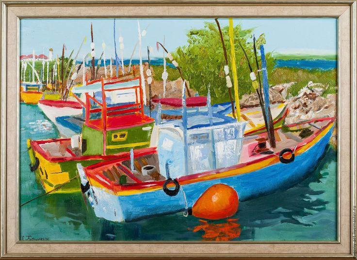"""Купить картина маслом """"Рыбацкие лодки в Мирисе"""". - морской пейзаж, лодки, южный пейзаж"""