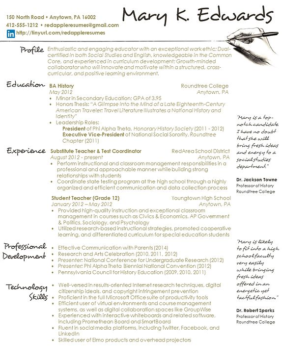18 best images about Resume on Pinterest - social studies teacher resume