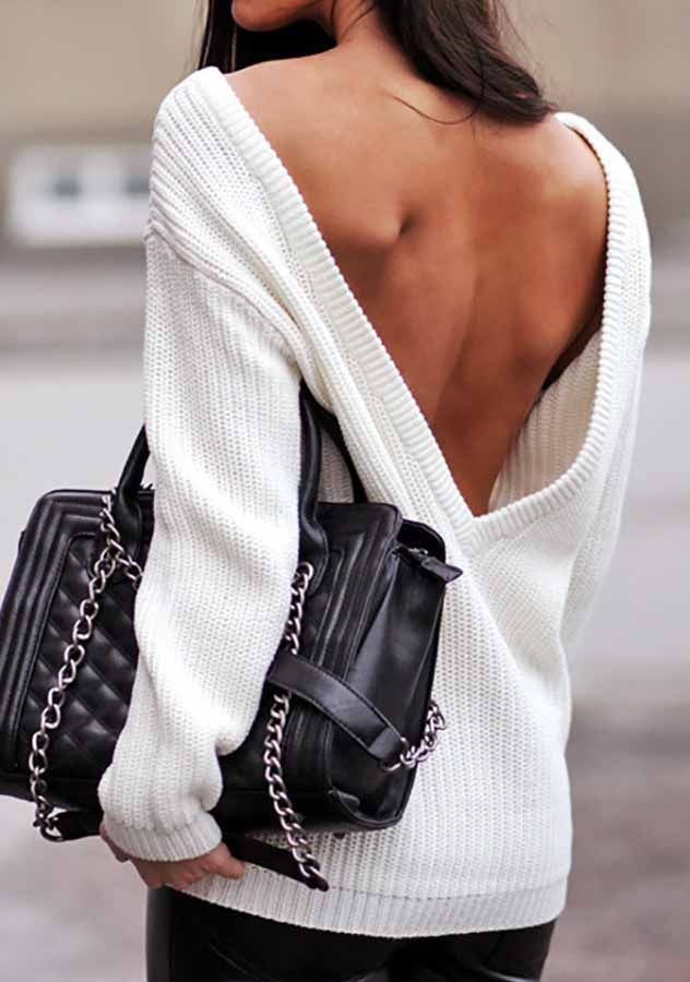 White Fall-Winter Loose Backless Pullover Sweater | Shop Womens Fashion Clothes at ZNU.com