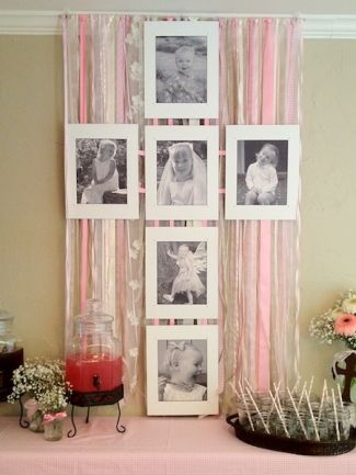 This little girl's family celebration of her First Communion was just the way she wanted it – pretty in pink! We used a collection of gorgeous pink and white ribbons to create backdrops for the cake table and beverage station, which also sported a montage of photos of the little girl, set in a cross formation for this religious celebration.