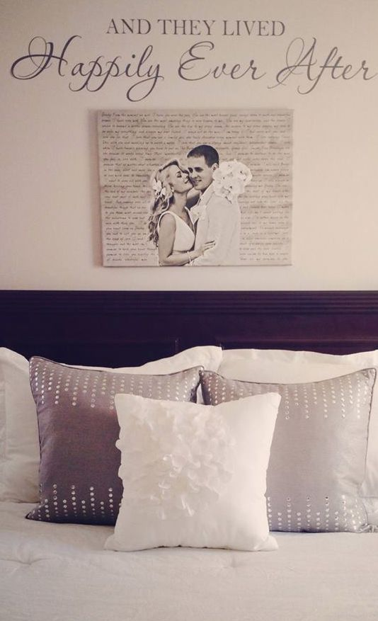 "Cute canvas artwork with your wedding portrait. love the idea of incorporating the ""and they lived happily ever after"" stencil. Cute idea for over the bed!"