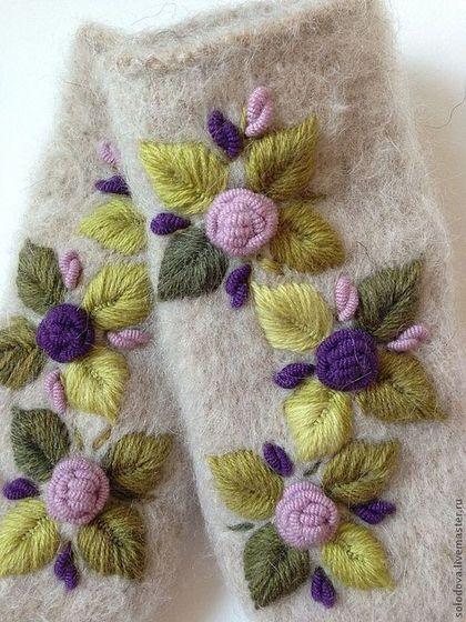 Варежки, митенки, перчатки ручной работы. Ярмарка Мастеров - ручная работа. Купить Варежки в Прованском стиле. Handmade. Варежки, розы