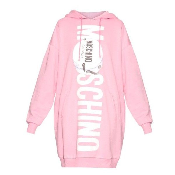 Moschino Printed-logo oversized hooded sweater dress ($756) ❤ liked on Polyvore featuring pink and moschino